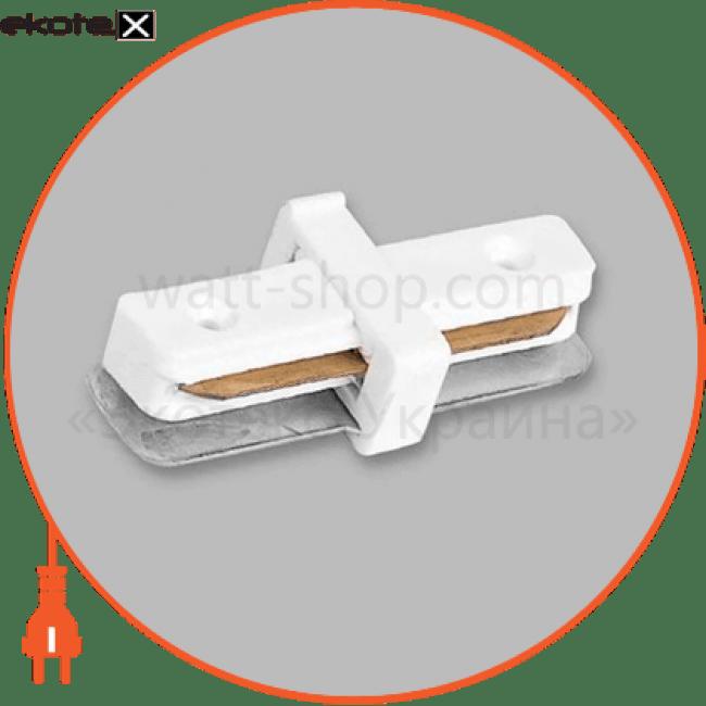 ld1000 коннектор прямой для шинопровода однофазного , белый комплектующие для светильников Feron 10314