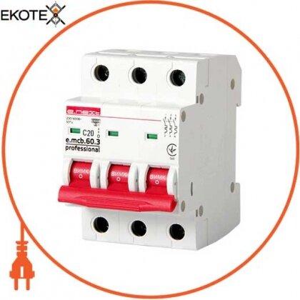 Enext p042032 модульный автоматический выключатель e.mcb.pro.60.3.c 20 new, 3р, 20а, c, 6ка new
