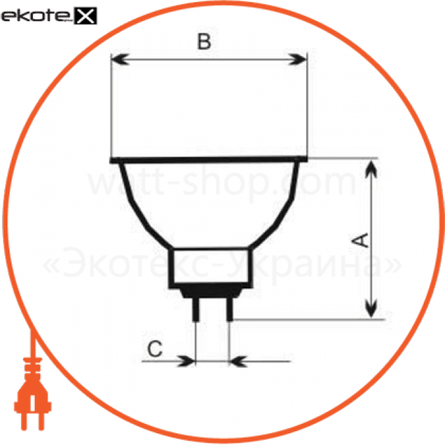лампа галогенная mr-16 20w 38гр  - a-hd-0067