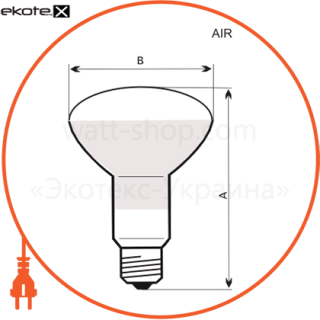 лампа рефлекторная r80 100w e27 мат.  - a-ir-0046 лампы накаливания electrum Electrum
