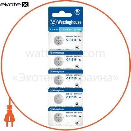 """Westinghouse 889554001653 литиевая батарейка westinghouse lithium """"таблетка"""" cr1616 5шт/уп blister"""