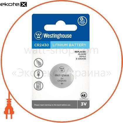 """Westinghouse 889554001592 литиевая батарейка westinghouse lithium """"таблетка"""" cr2430 1шт/уп blister"""
