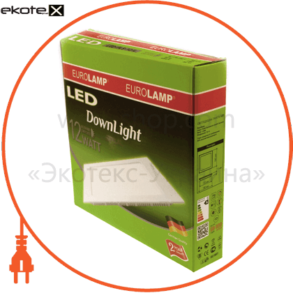 eurolamp led світильник квадратний downlight 12w 3000k (20) светодиодные светильники eurolamp Eurolamp LED-PLS-12/3