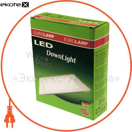 led panel (квадр,) 6w 3000k 220v светодиодные светильники eurolamp Eurolamp LED-PLS-6/3