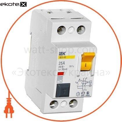 IEK MDV10-2-016-100 выключатель дифференциальный (узо) вд1-63 2р 16а 100ма iek