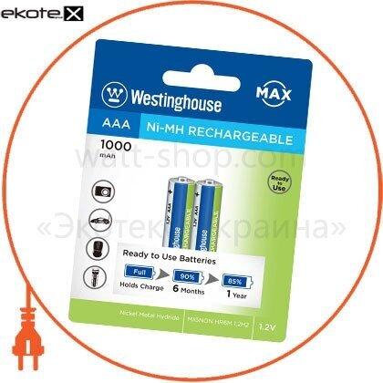 Westinghouse 889554001110 аккумулятор westinghouse ni-mh 1000 max ааa/r03 2шт/уп blister