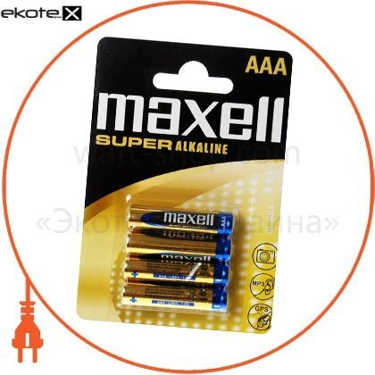 Maxell 790336.04 щелочная батарейка maxell super alkaline aaа/lr03 4шт/уп blister