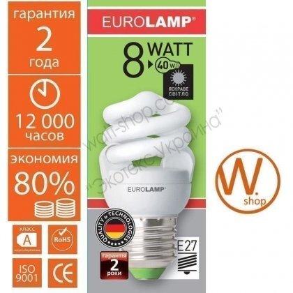 t2 spiral 8w 4100k e27 энергосберегающие лампы eurolamp Eurolamp