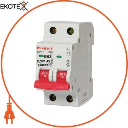 Enext s001023 модульный автоматический выключатель e.mcb.stand.45.2.b63, 2р, 63а, в, 4,5 ка