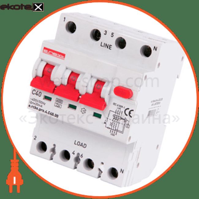 Enext p0720018 выключатель дифференциального тока с защитой от сверхтоков e.rcbo.pro.4.c40.30, 3p + n, 40а, с, тип а, 30ма