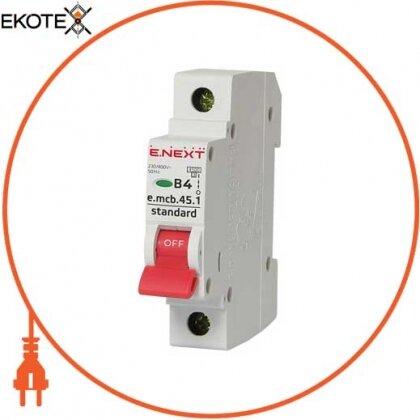 Enext s001004 модульный автоматический выключатель e.mcb.stand.45.1.b4, 1р, 4а, в, 4,5 ка