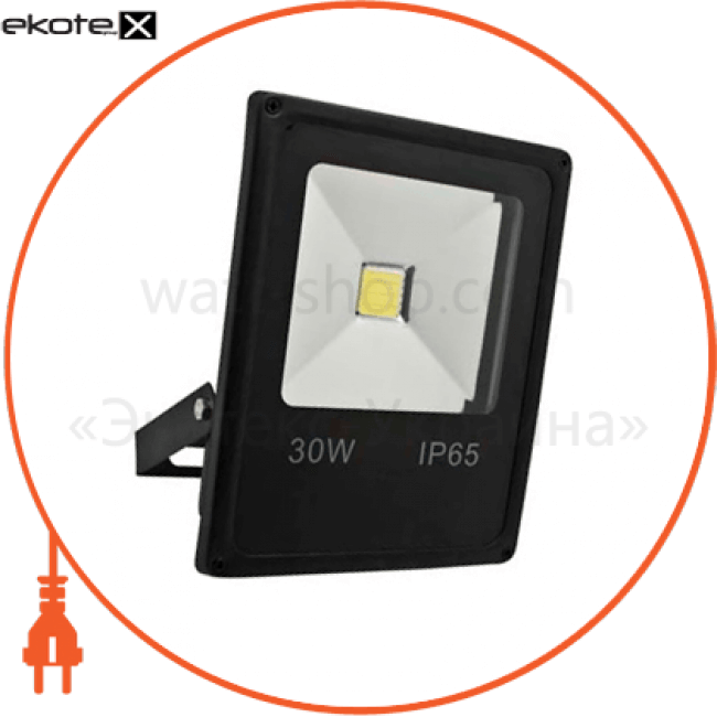 ll-838 1led 30w белый 6400k 230v (225*185*48mm) черный ip 65 светодиодные светильники feron Feron 12971