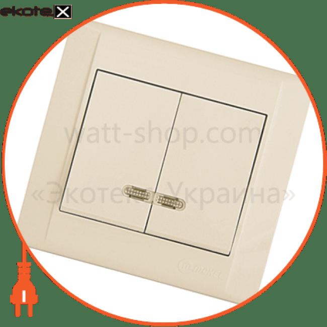 вимикач 2-клавішний з підсвітленням выключатель Makel 42010023