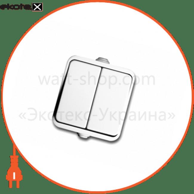10008220 Delux выключатель вимикач neptun 2223 2-клавішний білий (ip44)