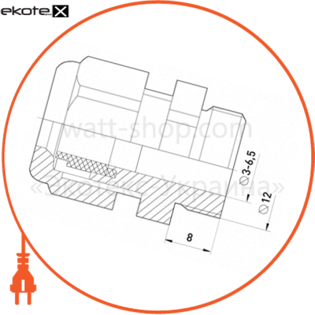 s018001 Enext все для монтажа кабельний ввід e.pg.stand.7