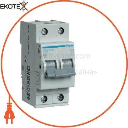 Hager MC220A автоматический выключатель 2p 6ka c-20a 2m