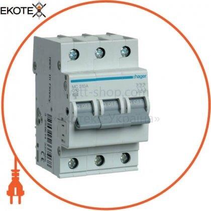 Hager MC310A автоматический выключатель 3p 6ka c-10a 3m