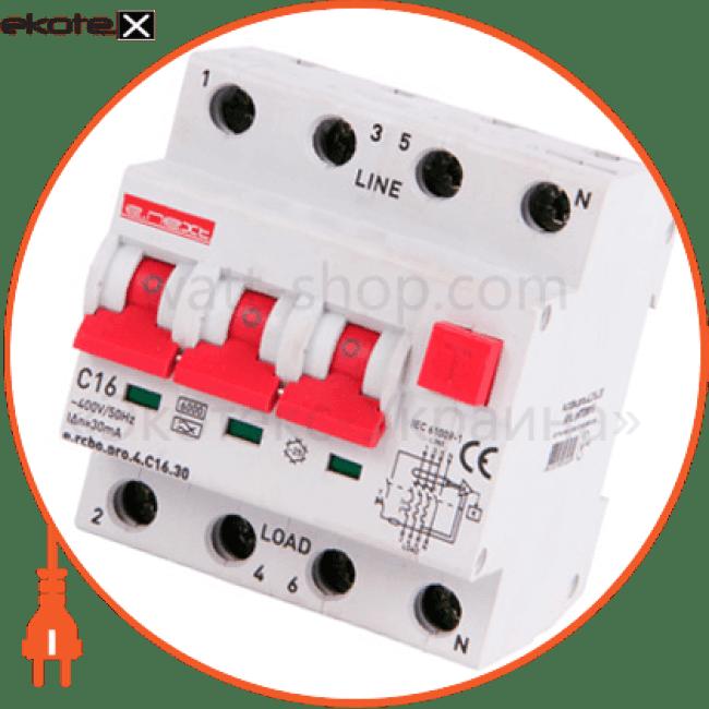вимикач диференційного струму з захистом від надструмів e.rcbo.pro.4.c16.30, 3p+n, 16а, с, тип а, 30ма дифференциальный автомат Enext p0720015