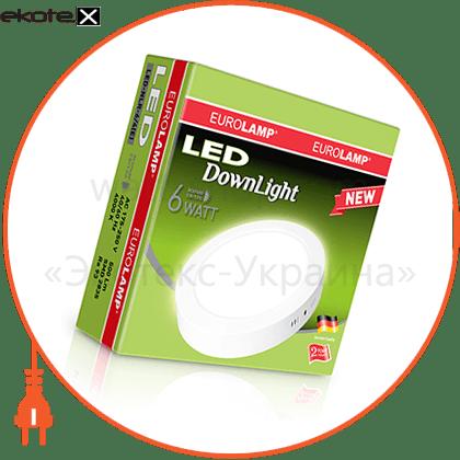 eurolamp led светильник круглый накладной downlight 6w 4000k светодиодные светильники eurolamp Eurolamp LED-NLR-6/4(E)