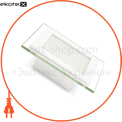 eurolamp led светильник квадратный downlight 6w 3000k(стекло) светодиодные светильники eurolamp Eurolamp LED-DLS-6/3(скло)