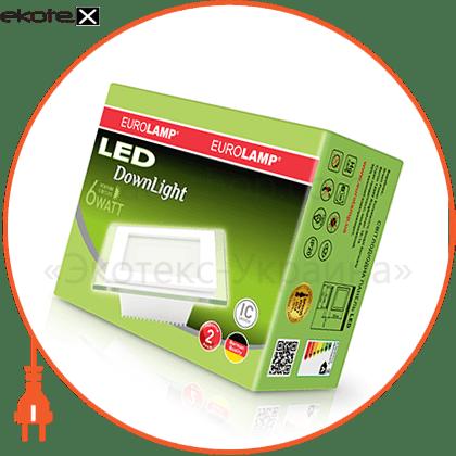 eurolamp led світильник квадратний скло downlight 6w 4000k (30) светодиодные светильники eurolamp Eurolamp LED-DLS-6/4(скло)