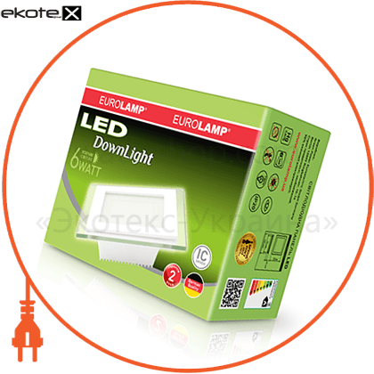eurolamp led светильник квадратный downlight 6w 4000k(стекло) светодиодные светильники eurolamp Eurolamp LED-DLS-6/4(скло)