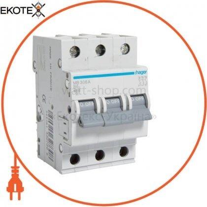Hager MB306A автоматический выключатель 3p 6ka b-6a 3m
