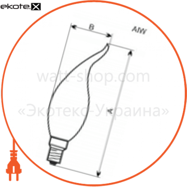 лампа свеча на ветру 40w e14  - a-iw-0049