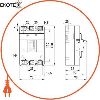 Enext i0010014 силовой автоматический выключатель e.industrial.ukm.60s.16, 3р, 16а