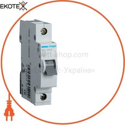 Hager MB116A автоматический выключатель 1p 6ka b-16a 1m
