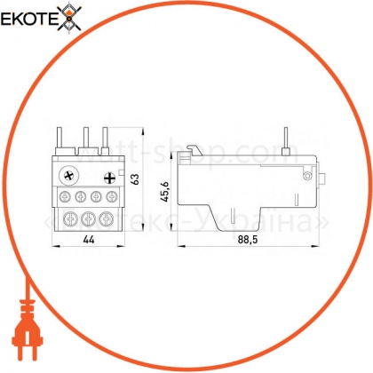 Enext i0110026 тепловое реле e.industrial.ukh.22.0,63 номинальный ток 22а, диапазон регулировки 0,4-0,63 а