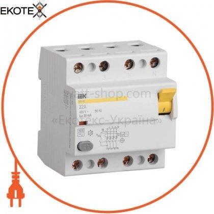 IEK MDV11-4-016-030 выключатель дифференциальный (узо) вд1-63 4р 16а 30ма тип а iek