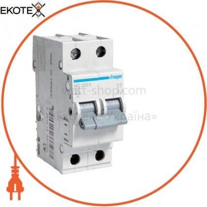 Hager MC202A автоматический выключатель 2p 6ka c-2a 2m