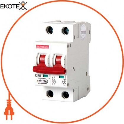 Enext i0180017 модульный автоматический выключатель e.industrial.mcb.100.2.c50, 2 р, 50а, c,  10ка
