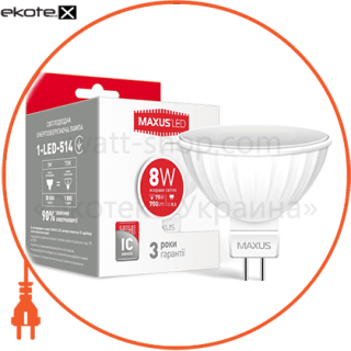led лампа maxus mr16 8w яркий свет gu5.3 (1-led-514) светодиодные лампы maxus Maxus 1-LED-514
