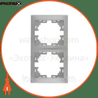 рамка mira, 2-ая вертикальная без вставки, металлик серый (701-1000-152) рамка Lezard