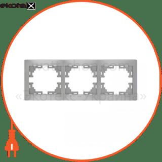 рамка mira, 3-ая горизонтальная без вставки, металлик серый (701-1000-148) рамка Lezard 701-1000-148
