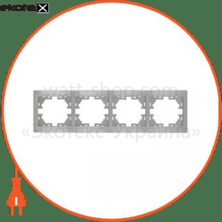рамка mira, 4-ая горизонтальная без вставки, металлик серый (701-1000-149) рамка Lezard 701-1000-149
