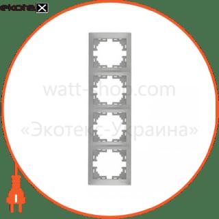 рамка mira, 4-ая вертикальная без вставки, металлик серый (701-1000-154) рамка Lezard 701-1000-154