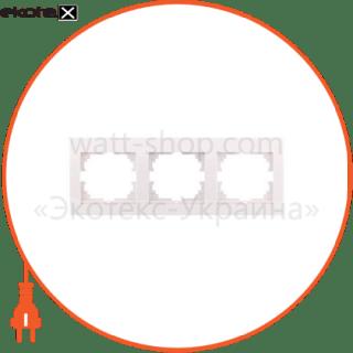 702-0300-148 Lezard рамка рамка трехместная deriy горизонтальная кремовый 702-0300-148