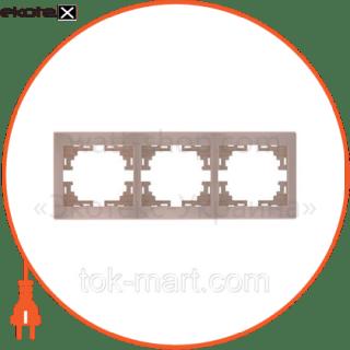 рамка трехместная mira горизонтальная кремовый 701-0300-148 рамка Lezard