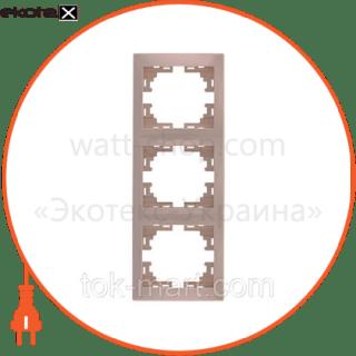 рамка трехместная mira вертикальная кремовый 701-0300-153 рамка Lezard