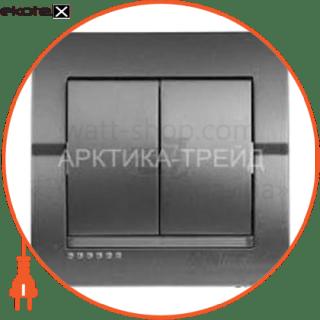выключатель двухклавишный deriy без подсветки 10 а 250в темно-серый металлик 702-2929-101 выключатель Lezard 702-2929-101