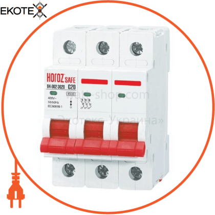 Horoz Electric 114-002-3020 модульный автоматический выключатель 3р 20а c 4,5ка 400v