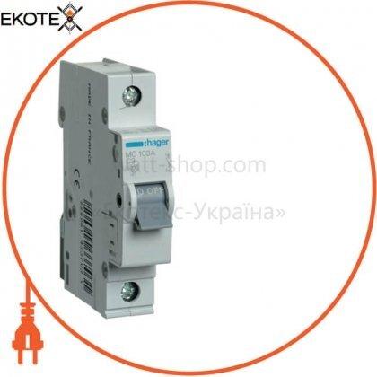 Hager MC103A автоматический выключатель 1p 6ka c-3a 1m