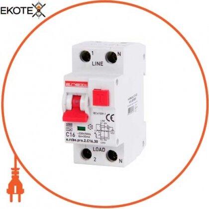 Enext p0720009 выключатель дифференциального тока с функцией защиты от сверхтоков e.rcbo.pro.2.с16.30, 1p+n, 16а, с, тип а, 30ма