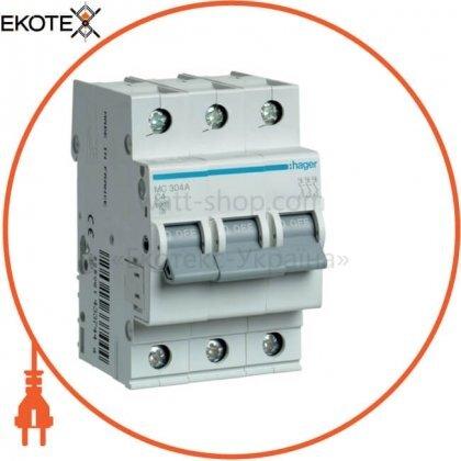 Hager MC304A автоматический выключатель 3p 6ka c-4a 3m