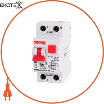 Enext p0720007 выключатель дифференциального тока с функцией защиты от сверхтоков e.rcbo.pro.2.с06.30, 1p+n, 6а, с, тип а, 30ма