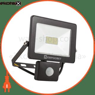 прожектор ev-20-01 20w 180-260v 6400k 1600lm smd с датчиком светодиодные светильники евросвет Евросвет 39331