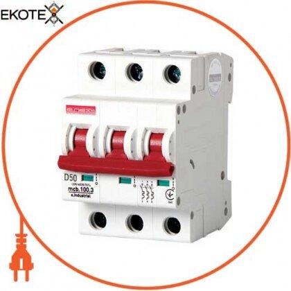 Enext i0200008 модульный автоматический выключатель e.industrial.mcb.100.3.d.50, 3р, 50а, d, 10ка